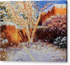 Adobe Wall With Tree In Snow Acrylic Print by Gary Kim