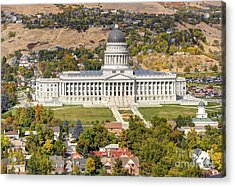 Aerial View Of Utah State Capitol Building Acrylic Print by Gary Whitton