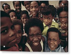 African American Children On The Street Acrylic Print by Everett