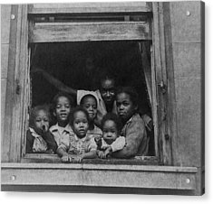 African American Woman And Six Children Acrylic Print by Everett