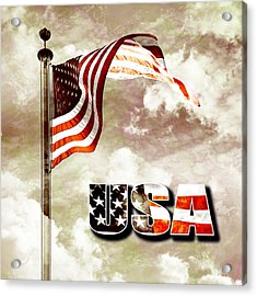 Aged Usa Flag On Pole Acrylic Print by Phill Petrovic