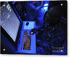 Air-traffic Controller Tracks Incoming Acrylic Print by Stocktrek Images