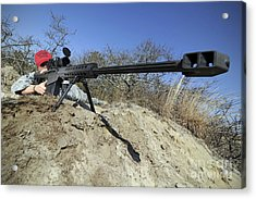 Airman Sights A .50 Caliber Sniper Acrylic Print by Stocktrek Images