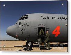 Airmen Board A C-130j Hercules At Dyess Acrylic Print by Stocktrek Images