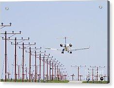Airplane Landing Acrylic Print by Jeremy Woodhouse