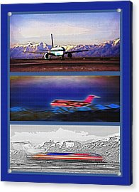 Airport - Airline Triptych Acrylic Print by Steve Ohlsen