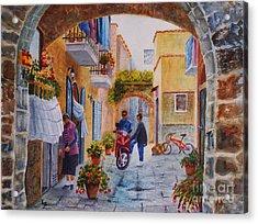Alley Chat Acrylic Print by Karen Fleschler