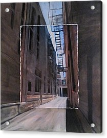 Alley With Fire Escape Layered Acrylic Print by Anita Burgermeister