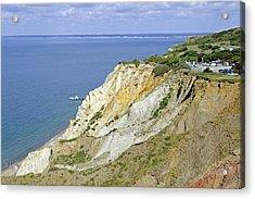Alum Bay - Coloured Sand Cliffs Acrylic Print by Rod Johnson