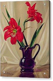 Amaryllis Lillies In A Dark Glass Jug Acrylic Print by Albert Williams