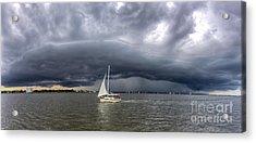Amazing Storm Clouds And Sailboat Charleston Sc Acrylic Print by Dustin K Ryan