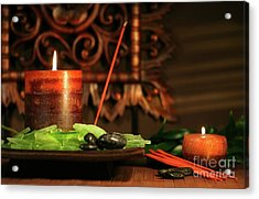 Amber Colored Candles Acrylic Print by Sandra Cunningham