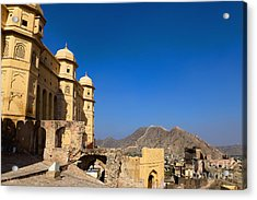 Amber Fort And Blue Sky Acrylic Print by Inti St. Clair