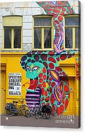 Amsterdam Snake Graffiti Acrylic Print by Gregory Dyer