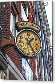 Amsterdam Vintage Deco Clock Sign Acrylic Print by Gregory Dyer