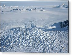 An Aerial View Of Crevasses In A Polar Acrylic Print by Gordon Wiltsie