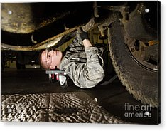 An Airman Inspects The Undercarriage Acrylic Print by Stocktrek Images