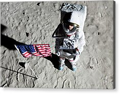 An Astronaut On The Surface Of The Moon Next To An American Flag Acrylic Print by Caspar Benson