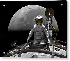 An Astronaut Takes A Last Look At Earth Acrylic Print by Walter Myers