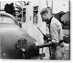 An Automobile Service Station Attendant Acrylic Print by Everett