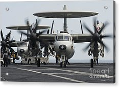 An E-2c Hawkeye Aircraft On The Flight Acrylic Print by Stocktrek Images