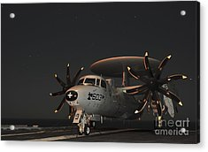 An E-2c Hawkeye Is Chained Acrylic Print by Stocktrek Images