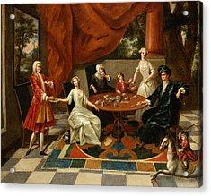 An Elegant Family Taking Tea  Acrylic Print by Gavin Hamilton
