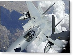 An F-15 Eagle Pulls Away From A Kc-135 Acrylic Print by Stocktrek Images
