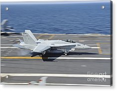An Fa-18c Hornet Lands Aboard Uss Acrylic Print by Stocktrek Images