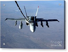 An Fa-18c Hornet Receives Fuel Acrylic Print by Stocktrek Images