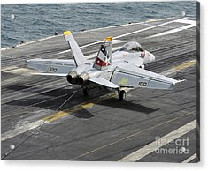 An Fa-18f Super Hornet Traps An Acrylic Print by Stocktrek Images
