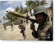 An Iraqi Army Soldier Provides Security Acrylic Print by Stocktrek Images