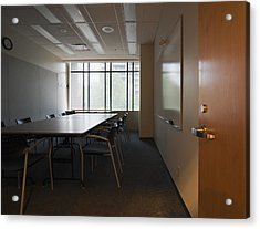 An Office Interior. Door Open To Empty Acrylic Print by Marlene Ford