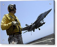 An Officer Observes An Fa-18f Super Acrylic Print by Stocktrek Images