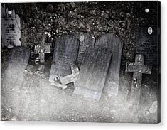 An Old Cemetery With Grave Stones And Fog Acrylic Print by Joana Kruse