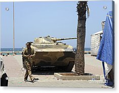 An Old Russian Bmp Armored Personnel Acrylic Print by Andrew Chittock