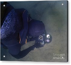 An Over The Shoulder View Of A Navy Acrylic Print by Michael Wood