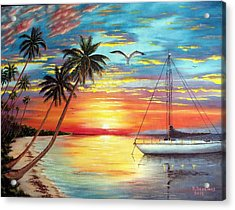 Anchored At Sunset Acrylic Print by Riley Geddings