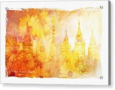 Angel Golden Acrylic Print by La Rae  Roberts
