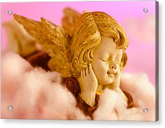 Angel Resting On Clouds And Enjoying The Sun Acrylic Print by Ulrich Schade