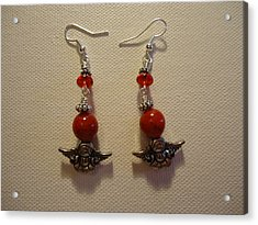 Angels In Red Earrings Acrylic Print by Jenna Green