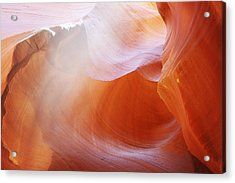 Antelope Canyon Light Beams - Unearthly Beauty Acrylic Print by Christine Till
