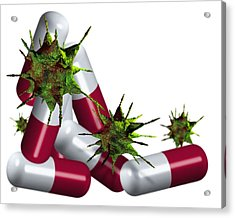 Antibiotic Pills And Microbes, Artwork Acrylic Print by Victor Habbick Visions