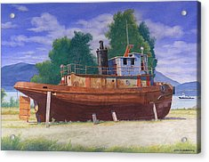 Antiquated Hudson River Tug Acrylic Print by Glen Heberling