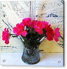 Antique Crystal Basket Of Roses Acrylic Print by Marsha Heiken