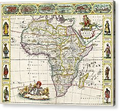 Antique Map Of Africa Acrylic Print by Dutch School