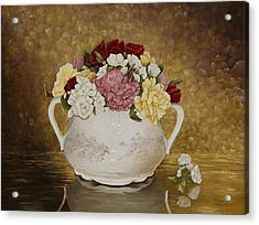 Antique Roses Acrylic Print by Mary Ann King