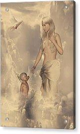 Aphrodite And Eros Acrylic Print by Lourry Legarde