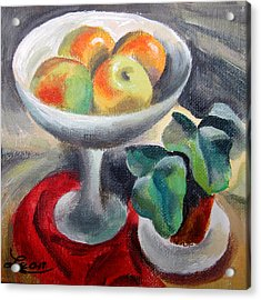 Apples In A Vase Acrylic Print by Leon Zernitsky