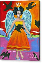 Archangel Zadklie Comes To Calm The Brewing Storm Acrylic Print by Christina Miller